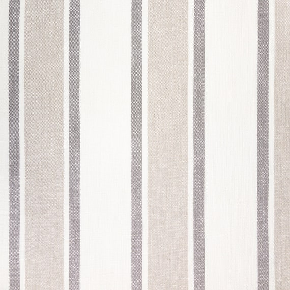 Designer Linen Look Striped Soft Curtain Fabric Roman Blind Cushion Material