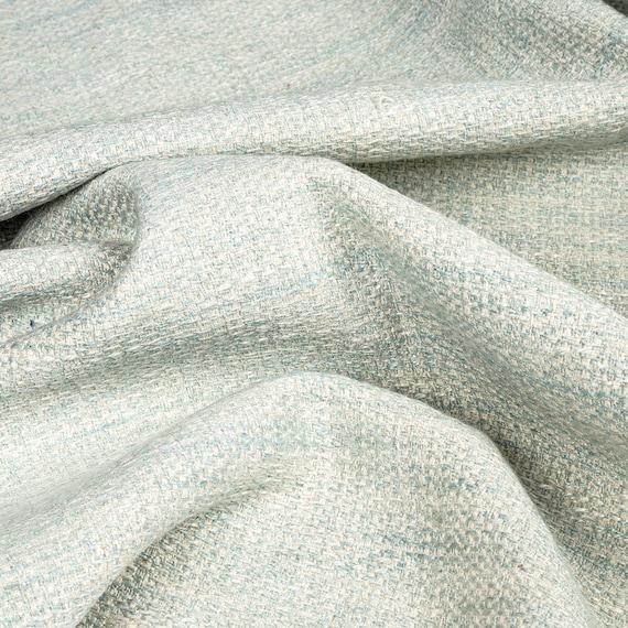 Designer Herringbone Weave Duck Egg Linen Mix By The Metre