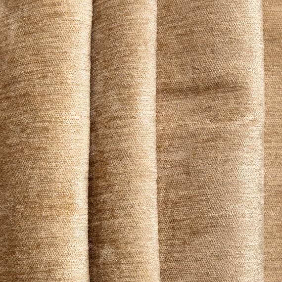 Upholstery Curtain Fabric Quality Plain Soft Linen Woven Look Chenille New Black