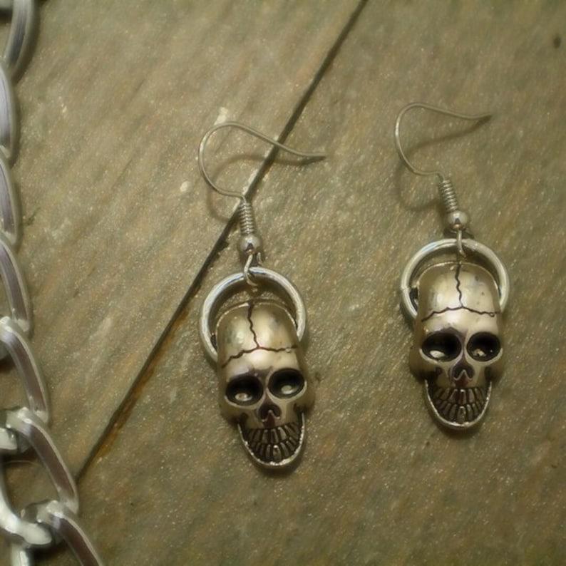 Skull ring earring