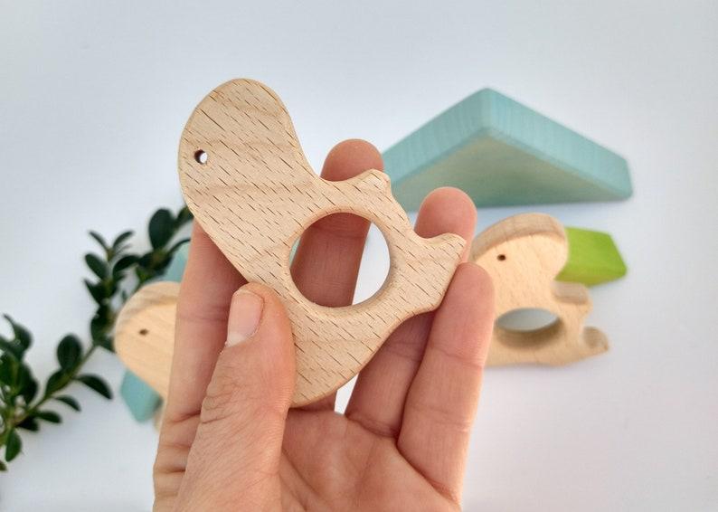 Dinosaur wooden baby teether dinosaur baby gift baby toy making rattle toy dinosaur wooden teether diy wood teething