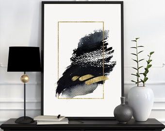 Abstract Watercolor Minimalistic Geometric Printable Art, Modern Wall  Decor, Downloadable Black And Gold Luxury Bedroom Living Room Art