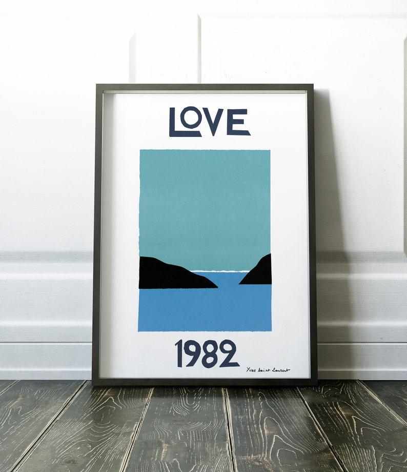 Yves Saint Laurent Love poster, Printed YSL poster, Abstract Vintage  fashion art print, retro living room bedroom wall decor, Printed
