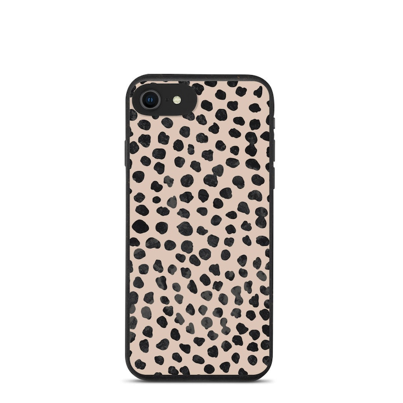 Leopard Print Beige Black Biodegradable phone case with Marble Background