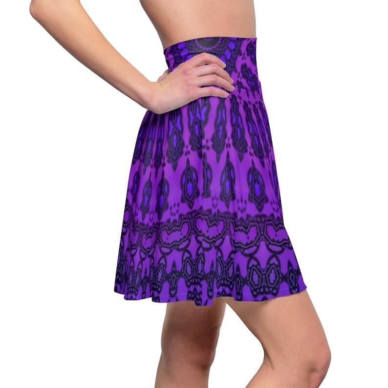 High Waist Summer Outerwear Purple Stylish Mandala Pattern Skater Skirt