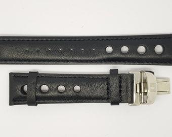 24 mm Bracelet en cuir de crocodile Alligator Genuine Butterfly avec boucle déployante en acier inoxydable 24 Bleu moyen avec cou