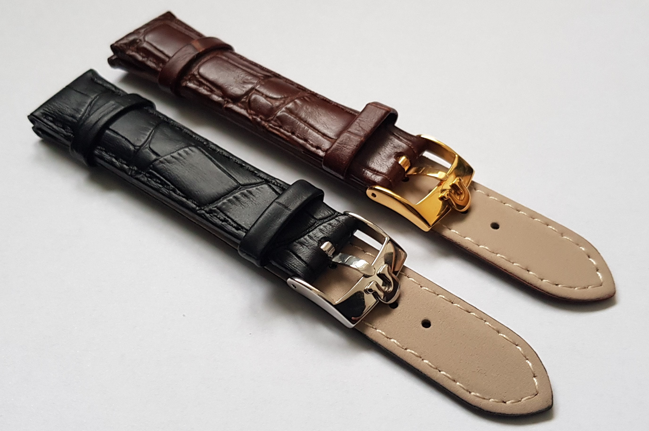 New 18/19/20mm Genuine Leather Gents Watch Strap Black/ Brown, Steel/ Gold Plated Buckle For Omega