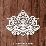SVG-DXF Lotus Zentangle Floral Art Silhouette Cut Files for Cricut ScanNCut Cameo Cutting Templates