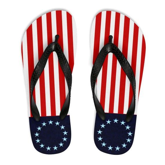 Betsy Ross Unisex Flip-Flops (blue stars)