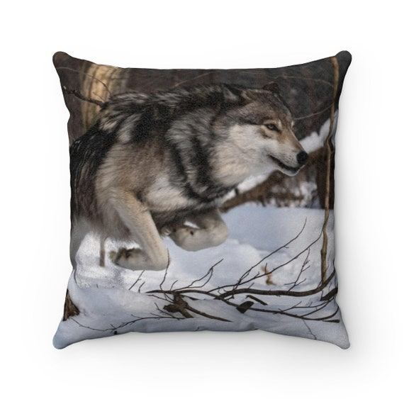 Wolf Faux Suede Square Pillow