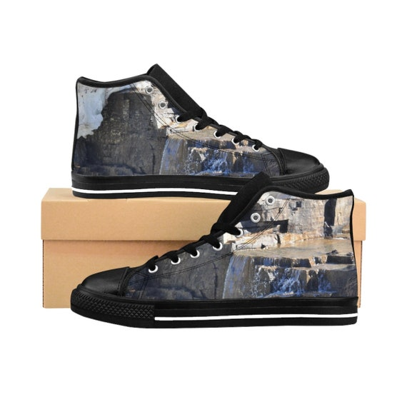 Rock/Waterfall Men's High-top Sneakers (see foot chart before purchasing)