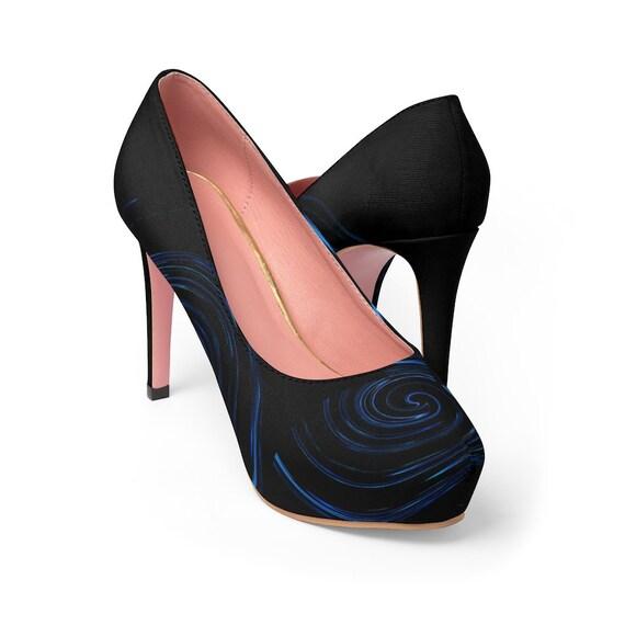Blue Swirl Women's Platform Heels
