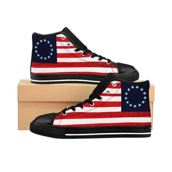 Betsy Ross Women's High-top Sneakers (Blue background)