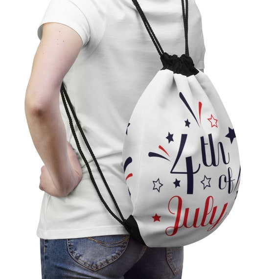 Durable Fourth of July Drawstring Bag (fully lined!)