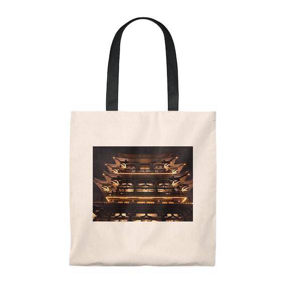 Chinese Pagoda Tote Bag  Vintage