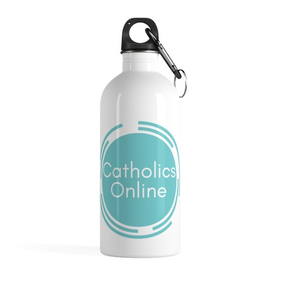 Catholics Online Blue Logo Stainless Steel Water Bottle