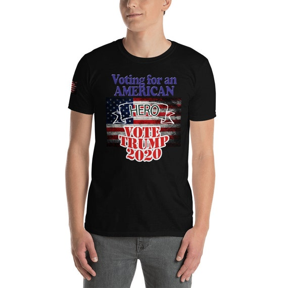 Trump T-shirt with shoulder flag swatch and neck flag swatch