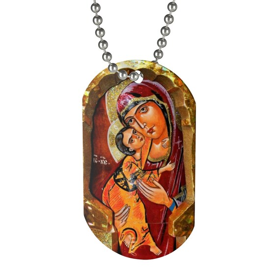 Blessed Mother and Jesus Dog Tag