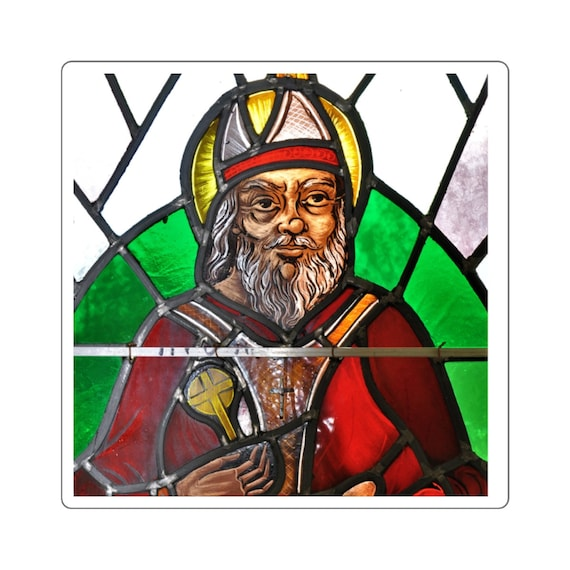 St Patrick Stained Glass Window Square Stickers