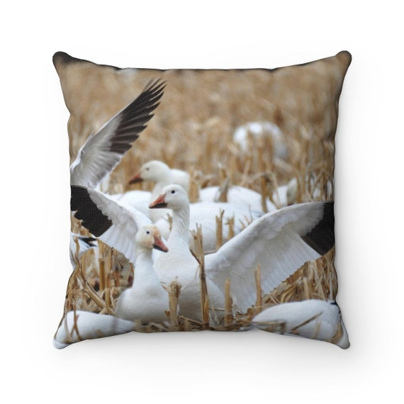 Geese in Field Spun Polyester Square Pillow