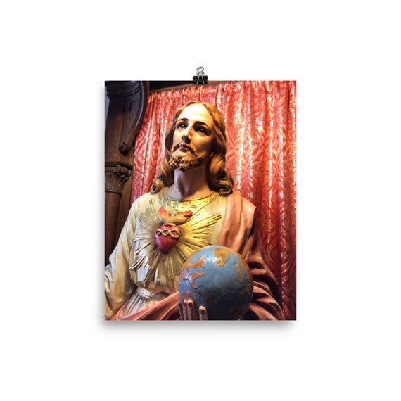 RARE Statue of Jesus from Cloister in NY on Photo paper poster