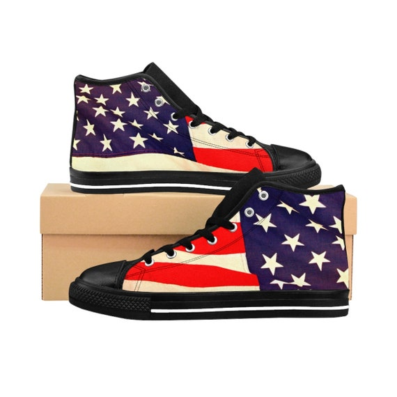 American Flag Men's High-top Sneakers (order one size up, runs small)