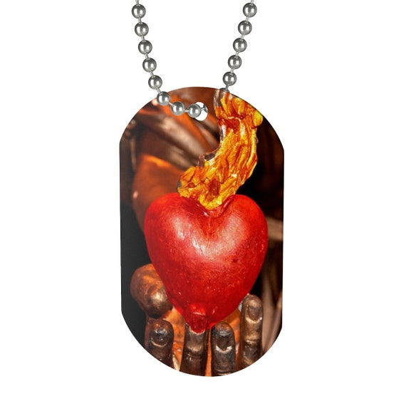 Red Heart On Fire For Jesus Dog Tag