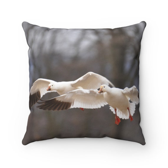 Geese in Flight Spun Polyester Square Pillow