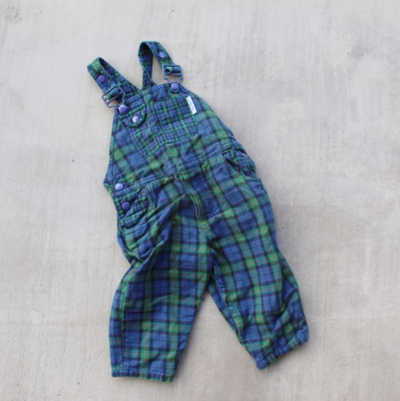 new styles fashionable and attractive package reputation first Vintage 80s 90s Green and Blue Plaid Kids Overalls Dungarees Onesie