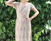 Mad Men Dress 1950 39 s Embroidered Dress 1950 39 s Wiggle Dress 1950 39 s Party Dress 1950 39 s Taupe Dress 1950 39 s Champagne Dress Size Small