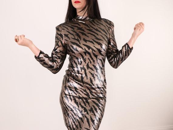 1980's Sequins Dress/1980's Evening Dress/1980's M