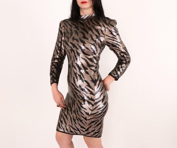 1980's Sequins Dress/1980's Evening Dress/1980's … - image 5