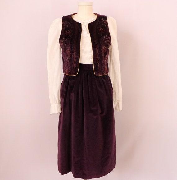 1970's Skirt Set/1970's Velvet Suit/Union Made Sui