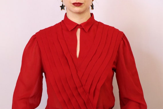 1980's Paneled Blouse/1980's Sheer Red Blouse/198… - image 6