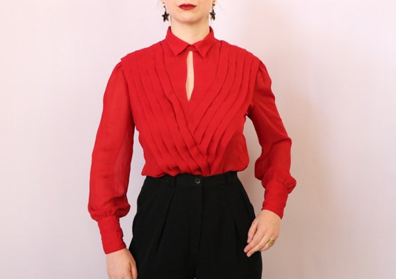 1980's Paneled Blouse/1980's Sheer Red Blouse/198… - image 4