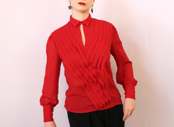 1980's Paneled Blouse/1980's Sheer Red Blouse/198… - image 3