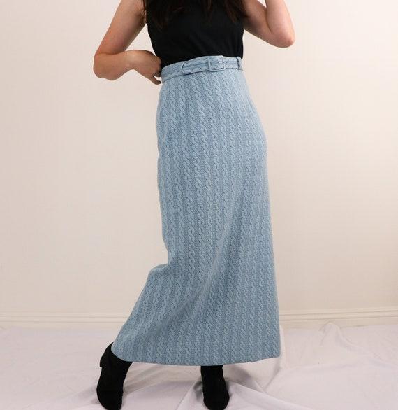 1970's Belted Skirt/1970's Maxi Skirt/1970's Blue