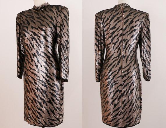 1980's Sequins Dress/1980's Evening Dress/1980's … - image 7