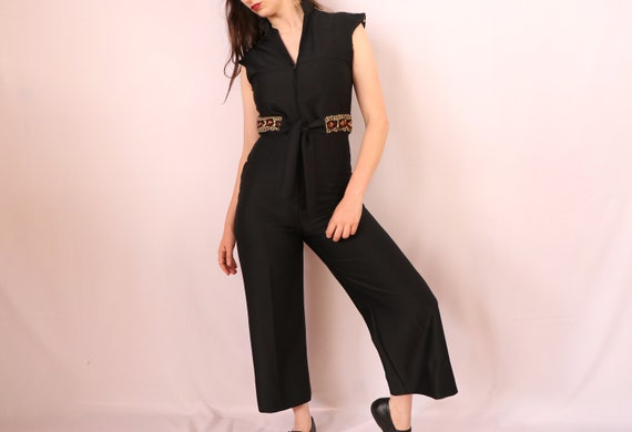 1970's Black Jumpsuit/1970's Wide Leg Jumpsuit/197