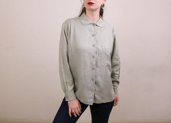 Minimalist Linen Blouse/1990's Minimalist Blouse/L