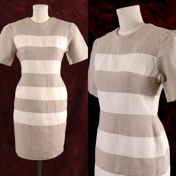 1980's Minimalist Dress/1980's Linen Dress/1980's