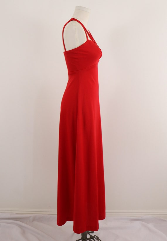 1970's Disco Dress/1970's Red Maxi Dress/Lipstick… - image 5