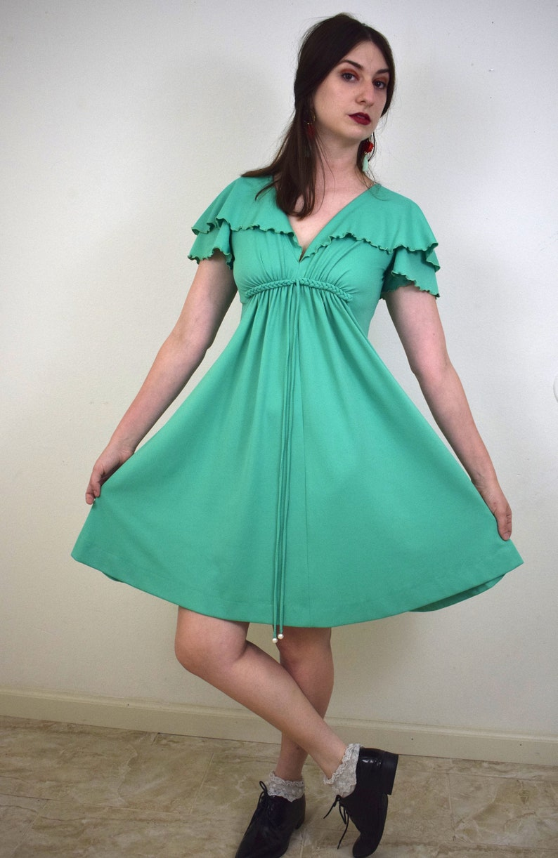 1970/'s Capelet Dress1970/'s Mini Dress1970/'s Disco Dress DressJade Green DressBoogie Nights DressSaturday Night FeverSmallMedium
