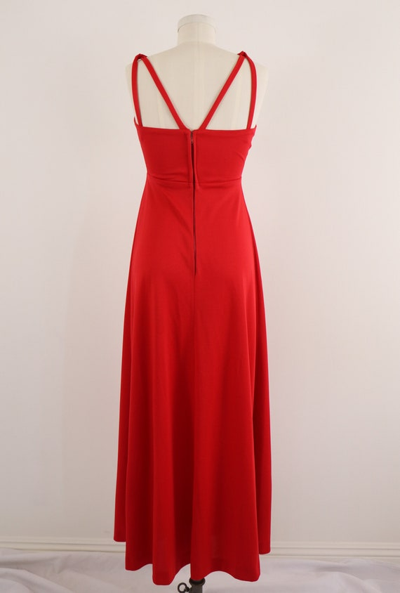 1970's Disco Dress/1970's Red Maxi Dress/Lipstick… - image 3