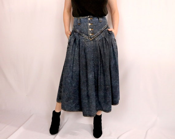 80's Denim Skirt/80's Cotton Skirt/80's Acid Wash