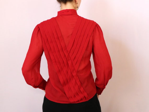 1980's Paneled Blouse/1980's Sheer Red Blouse/198… - image 5