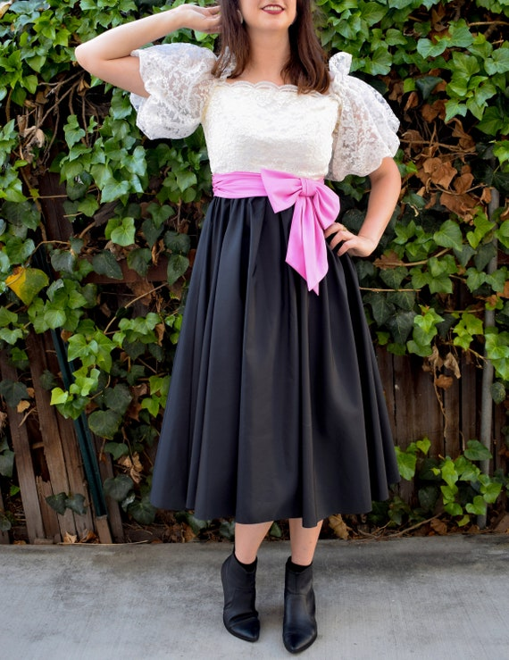 Statement Sleeves/1980's Party Dress/1980's Cockt… - image 1