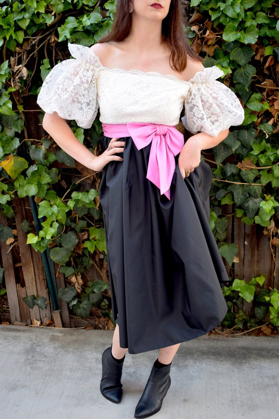Statement Sleeves/1980's Party Dress/1980's Cockt… - image 7