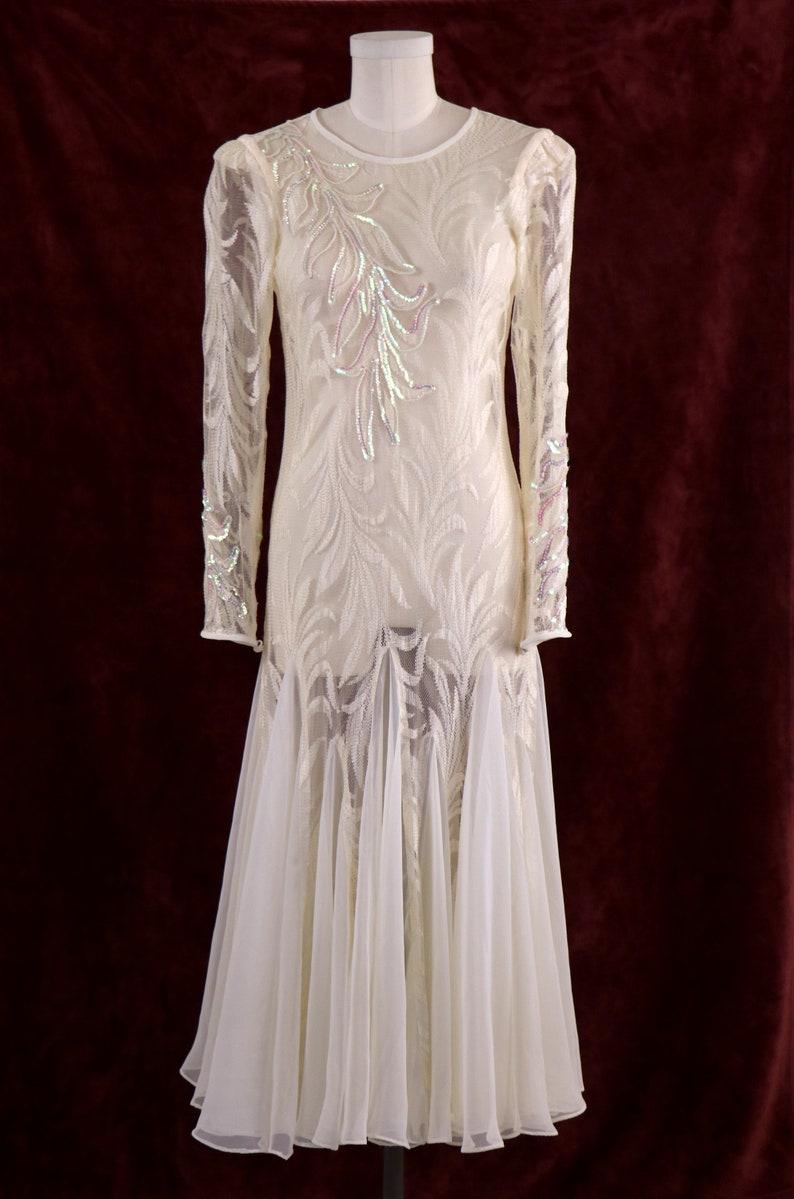 1980/'s Evening DressMermaid Evening DressWhite Evening GownSequined Evening GownSheer Evening DressChiffon Evening DressSize Small
