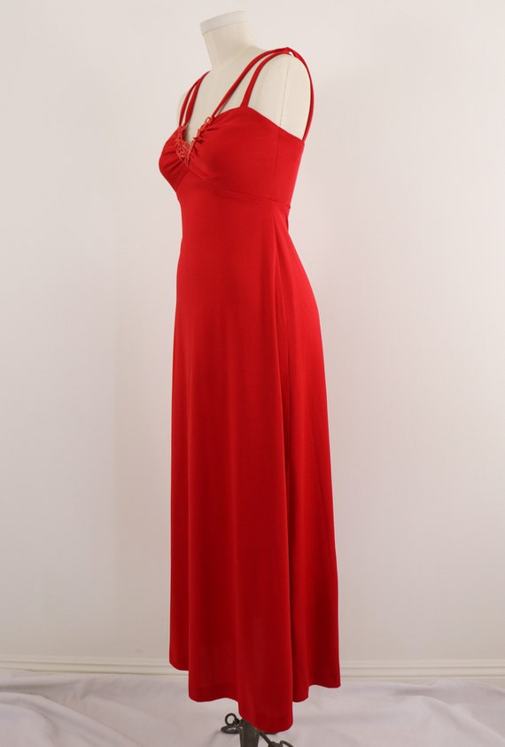 1970's Disco Dress/1970's Red Maxi Dress/Lipstick… - image 4
